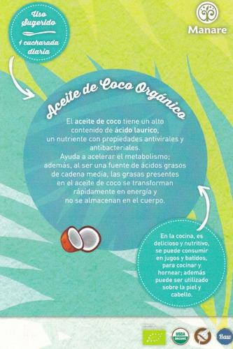 aceite de coco orgánico, 2 de 500ml envío gratis