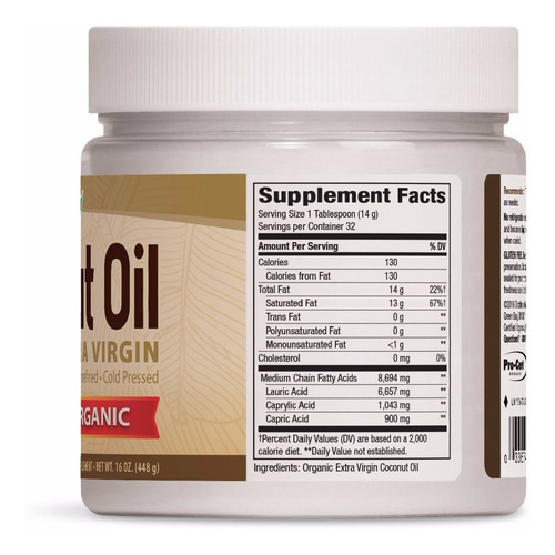 aceite de coco organico cocinar extra virgen 448 g 16 oz
