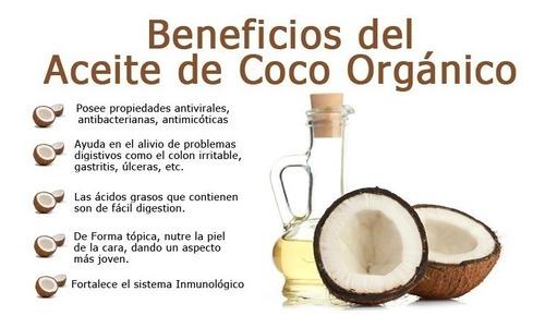 aceite de coco virgen orgánico certificado x 1 litro