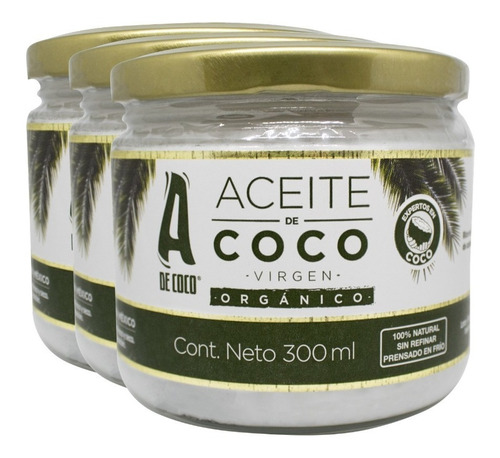 aceite de coco virgen organico x3 unidades