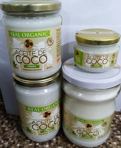 aceite de coco virgen prensado en frio, envasado en origen
