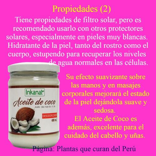aceite de coco(400ml)desodorizado inkanat, plantas que curan
