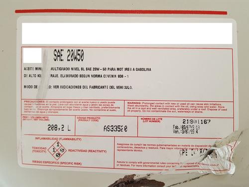 aceite de motor 20w50 mineral multigrado de tambor por litro