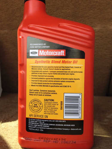 aceite de motor motorcraft 5w20 synthetic blend, api sn