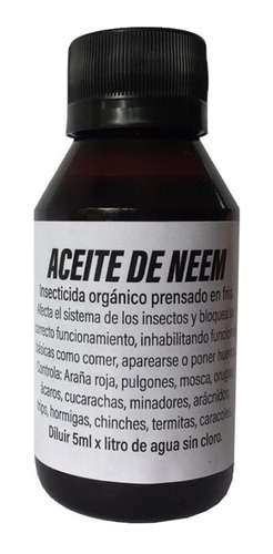 aceite de neem puro juanijuana 100 ml insecticida ecologico