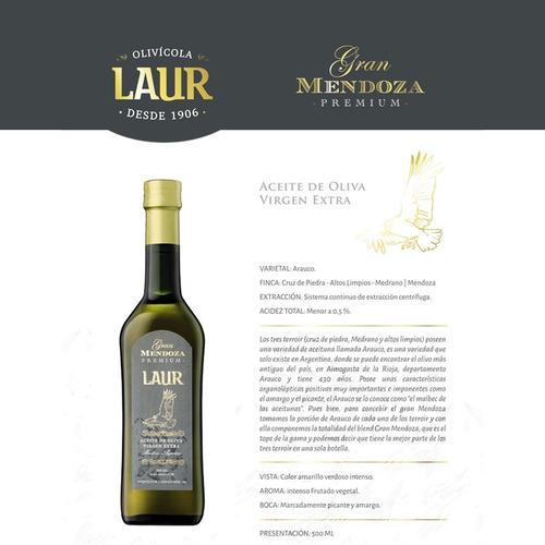 aceite de oliva extra virgen laur gran mendoza 500ml x 6u