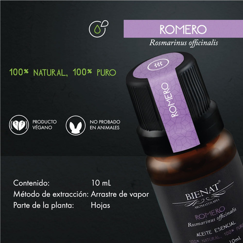 aceite esencial de romero 100% natural 100% puro