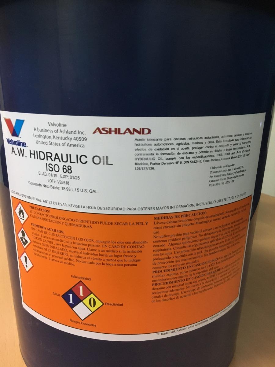 Aceite Hidráulico Aw68 Marca Valvoline Paila 18l