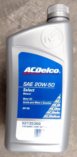 aceite lubricante acdelco 20w50 mineral por cajas  gasolina