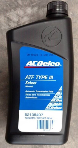 aceite lubricante acdelco atf iii  mineral transmision aut