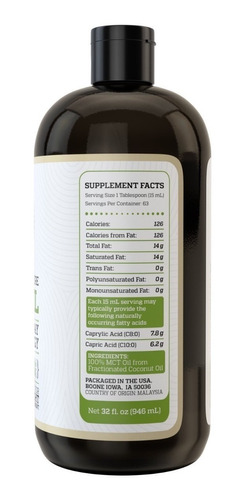 aceite mct premium de cocos 100% natural  946 ml oil full