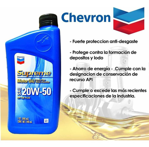 aceite mineral chevron 20w50 api sn. somos tienda física