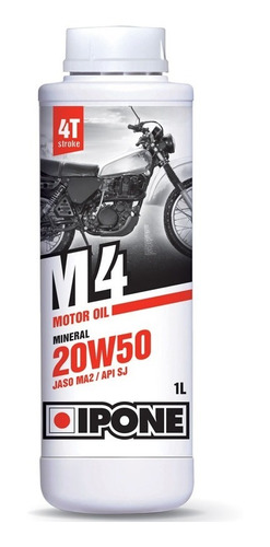 aceite moto ipone m4 sae 20w50 4t mineral solomototeam