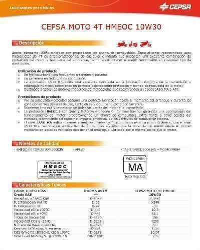 aceite motocicleta sintetico cepsa 4t hmeoc 10w30  1l