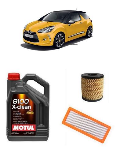 aceite motul 8100 + service + filtros x 2 - citroen ds3 thp