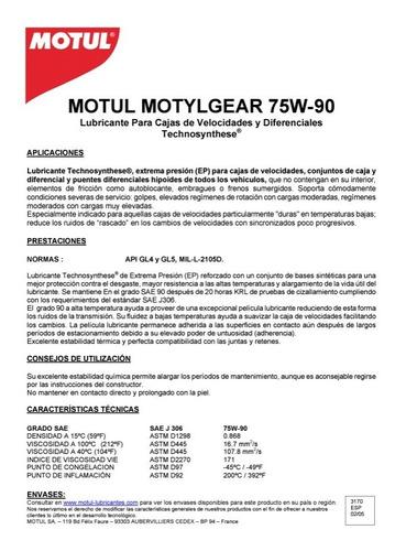 aceite motul sae 75w90 motyl gear api gl4/gl5 sintetica imp