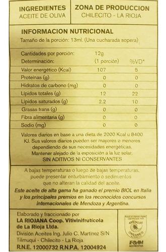 aceite oliva extra virgen organico la riojana x5000cc + rega