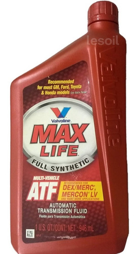 aceite valvoline max life atf dexron iii origen usa 1 litro