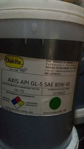 aceite valvulina 80w90 oakite paila