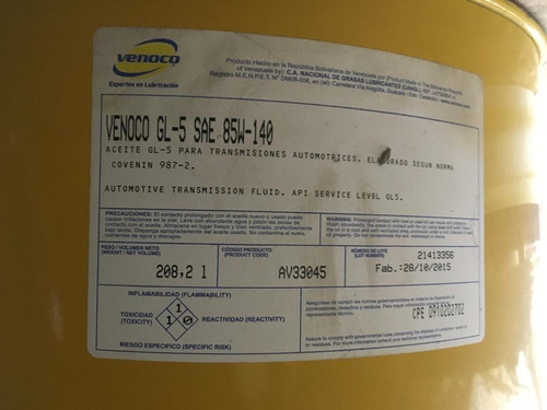 aceite venoco 85w 140 tambor 208 lts
