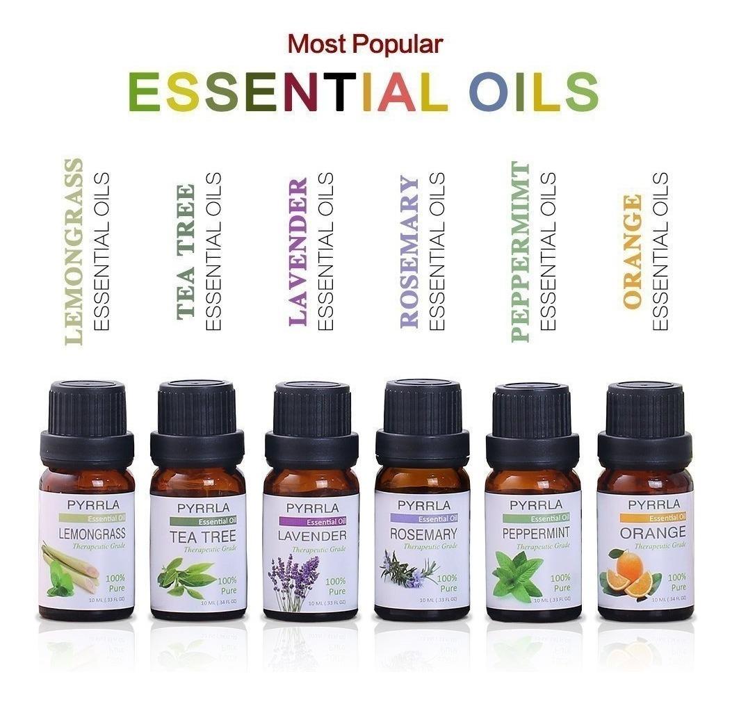 Kit 6 Aceites Esenciales De10ml Aromaterapia Marca Pyrrla