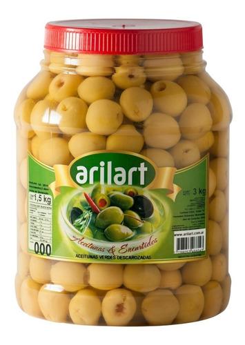 aceitunas verdes descarozadas premium n000 1,5 kg - arilart