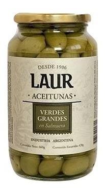 aceitunas verdes grandes en salmuera laur 660g.