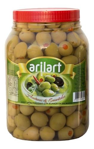 aceitunas verdes rellenas con morron nº0 x 2 kg - arilart