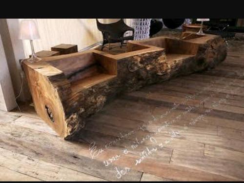 acentos feito de tronco d e madeira , frete grátis.