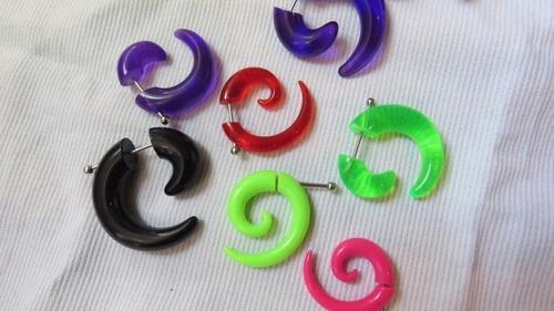 acero acrílico aros falso expansor espiral piercing 3 -4 cm