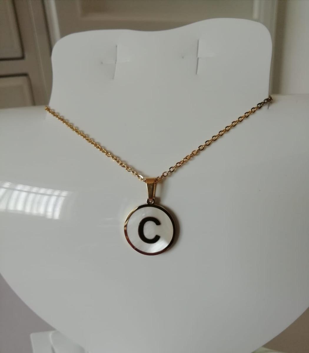 9b1ca1f05889 Cargando zoom... collar con dije letra inicial acero inoxidable y madre  perla