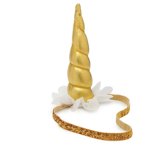 acessório adereço tiara c/elástico unicórnio dourado fes