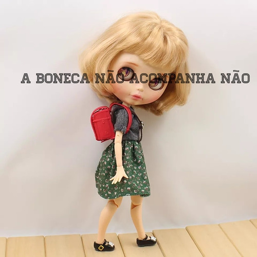 acessório bolsa escola p/boneca barbie,pullip,blyth,evet