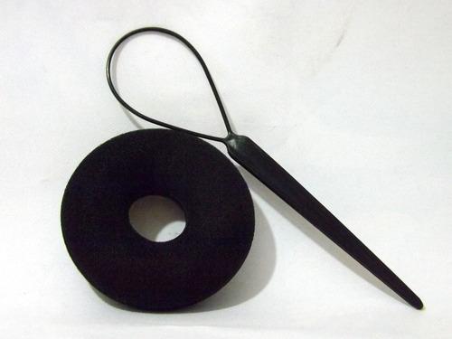acessório rosquinha donut para fazer coque cor preto tam: p