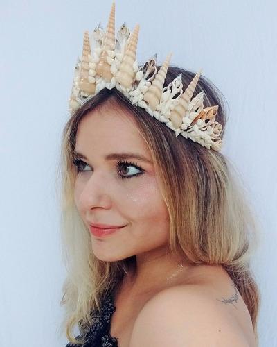 acessório sereia, sereismo, coroa de conchas rainha do mar
