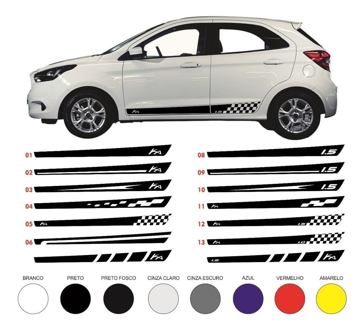 Acessorios Adesivos Faixas Laterais Novo Ford Ka Hatch Sedan R 40 00 Em Mercado Livre