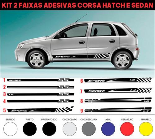 acessórios adesivos laterais corsa hatch sedan 2 4 portas