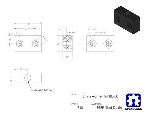 acessórios impressora 3d t8 8mm parafuso porca assento bloc