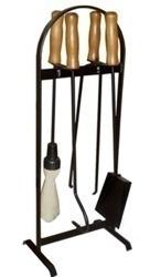 acessórios p/ limpeza de lareira ferramentas cabo  madeira