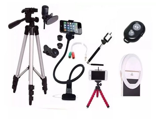 acessorios para youtuber tripé 1,30 anel flash led celulares