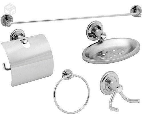 acessórios stander para banheiro 5 peças em inox e alimínio