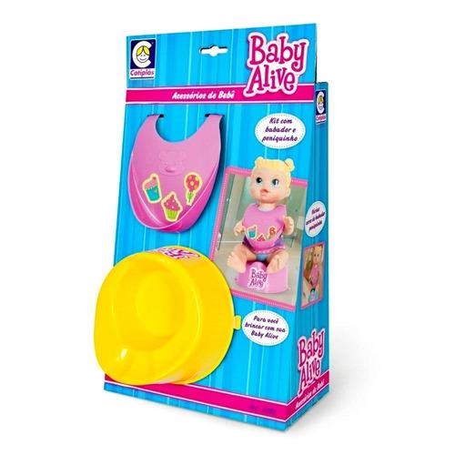 acessorios troninho pinico com babador p/ boneca baby alive