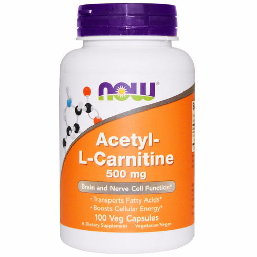 acetyl l-carnitina 500mg 100cps now foods pronta entrega