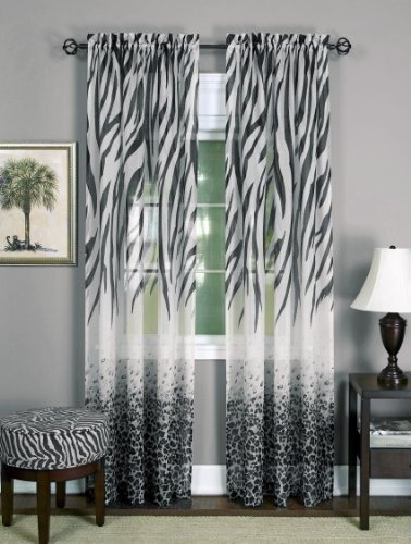 achim kenya cortina de ventana panel para el hogar, negro/b