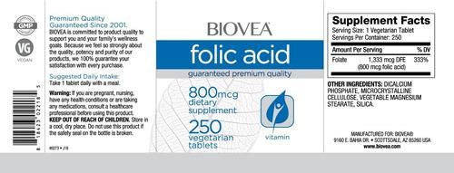 ácido fólico biovea, 800mcg - 250 comprimidos