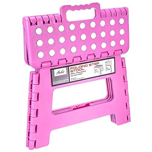 acko 9 pulgadas taburete plegable rosa con superficie antide