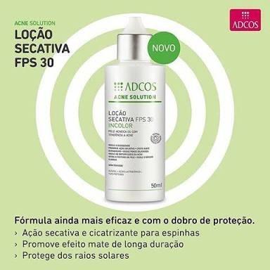 acne solution loção secativa fps 30 incolor - frete grátis