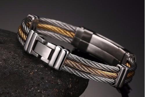 aço bracelete pulseira masculina