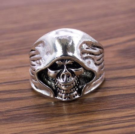 aço caveira anel masculino