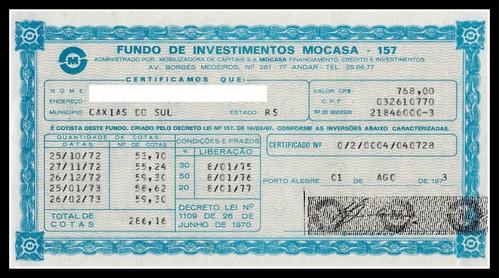 ação - mocasa - cota fundo de investimento 157 # 01